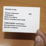 Hand holding presentation cue card with prompts